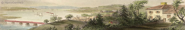 A section view of Bartlett's engraving of Windsor, Nova Scotia circa 1843.