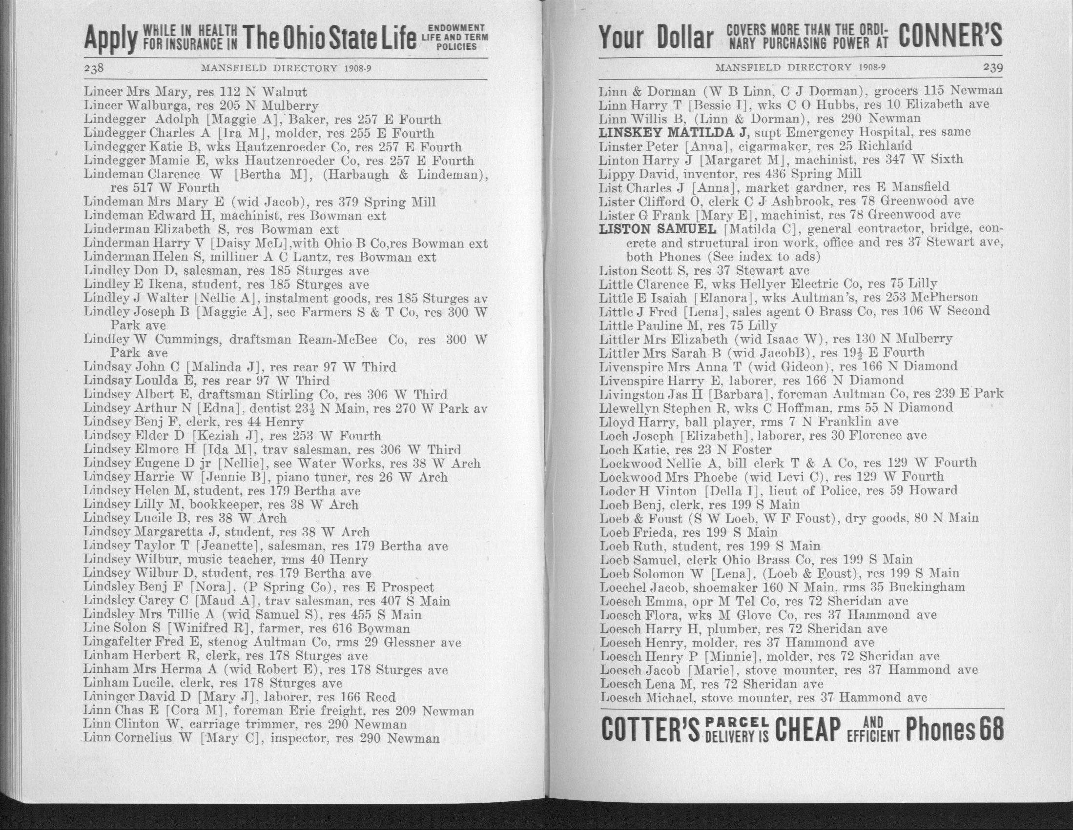 Burch Directory Company's MANSFIELD CITY DIRECTORY, 1908-1909