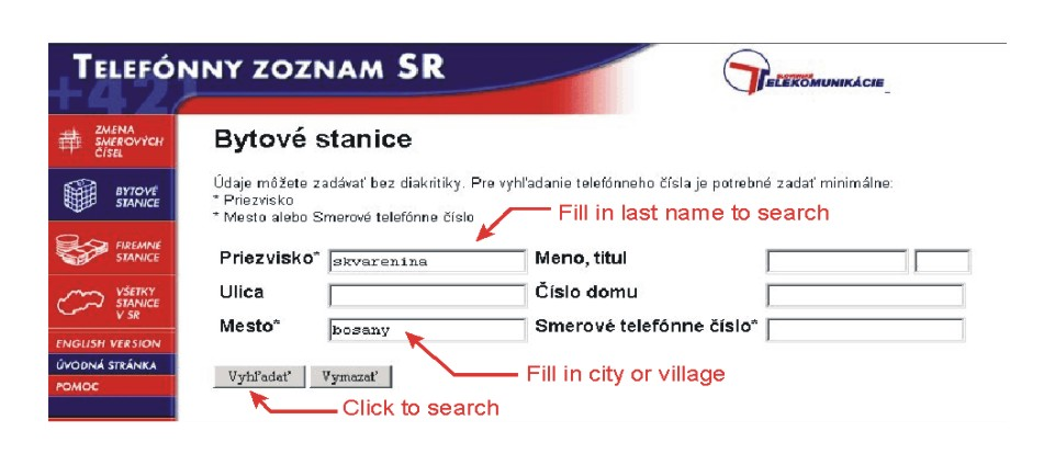 The Slovak White Pages