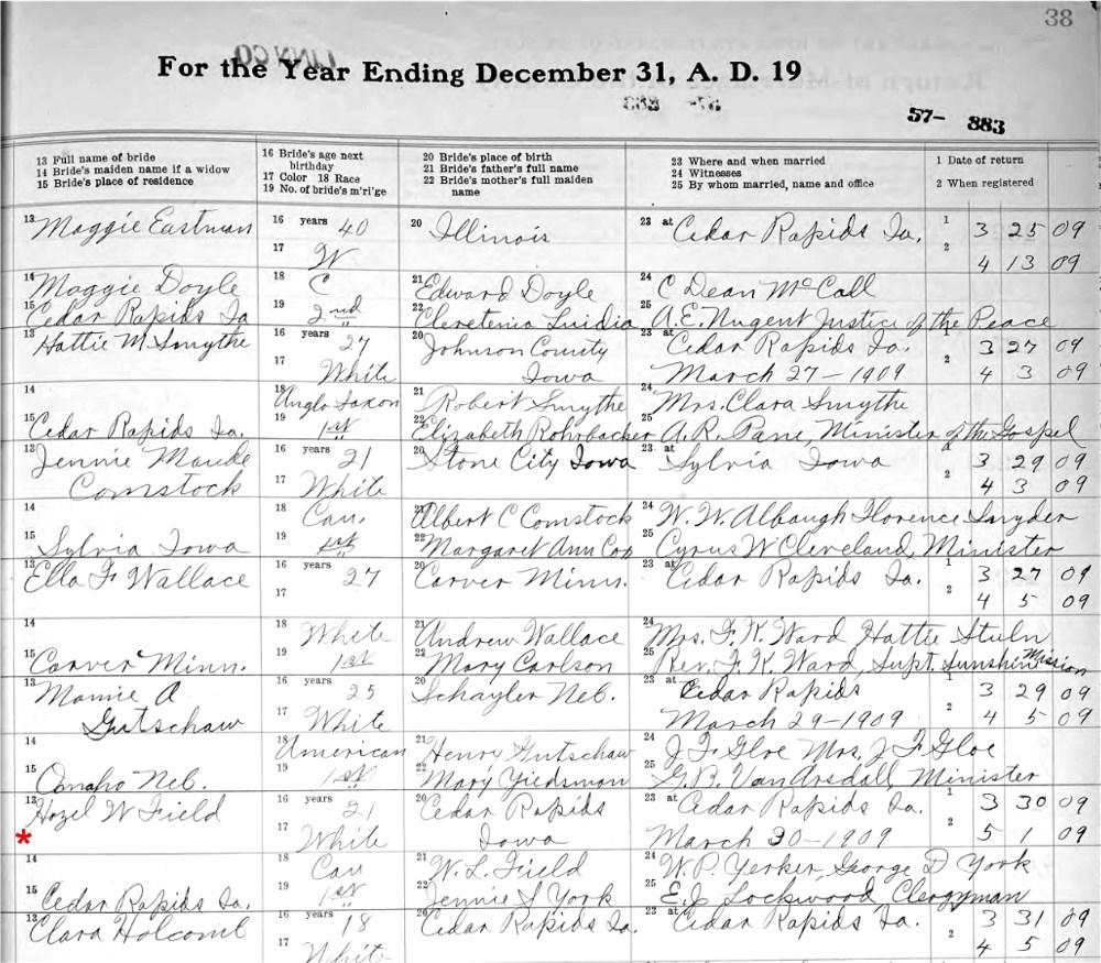 Iowa Marriage Record