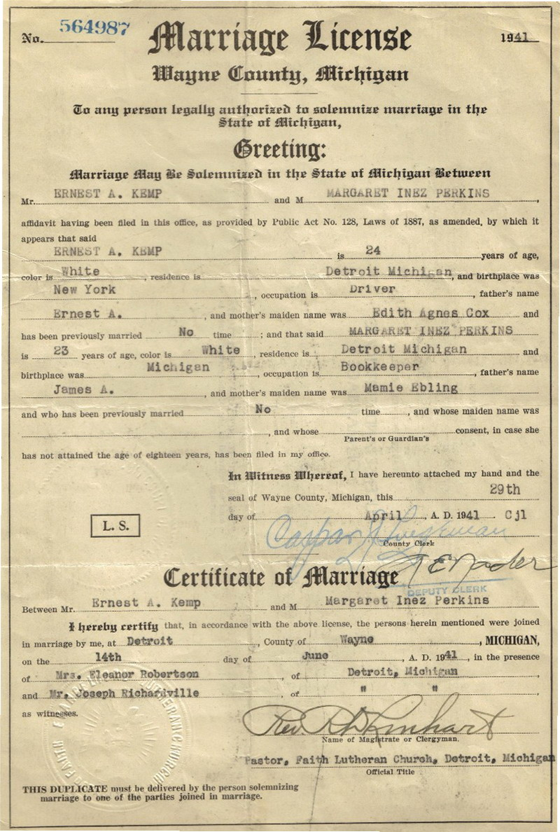 Michigan Marriage Record