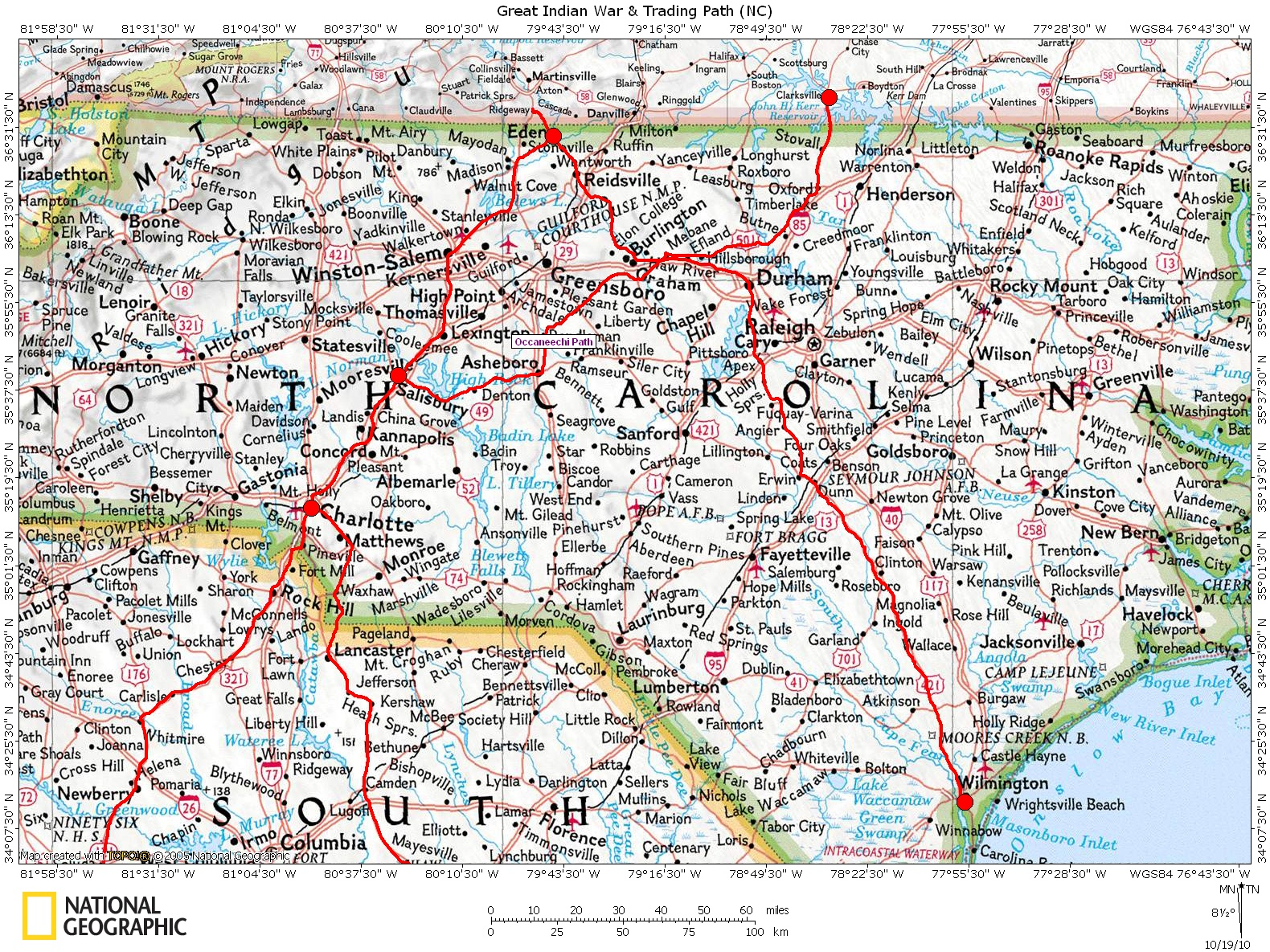 Map Of Georgia And North Carolina.Historic Roads Trails Paths Migration Routes Virginia Carolina