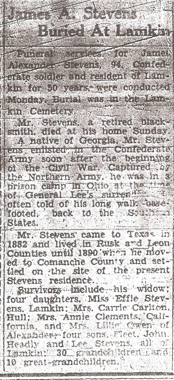 Obituary of James Alexander Stevens
