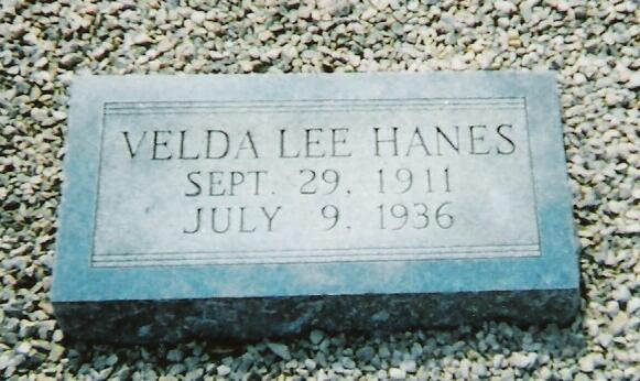 Tombstone of Velda Lee Hanes