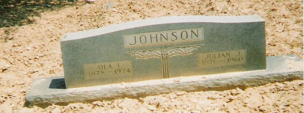 Tombstone of Julian and Ola Johnson