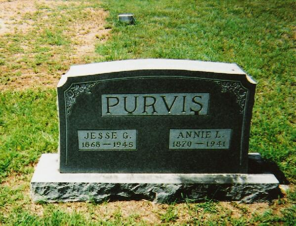 Tombstone of Jesse and Annie Purvis