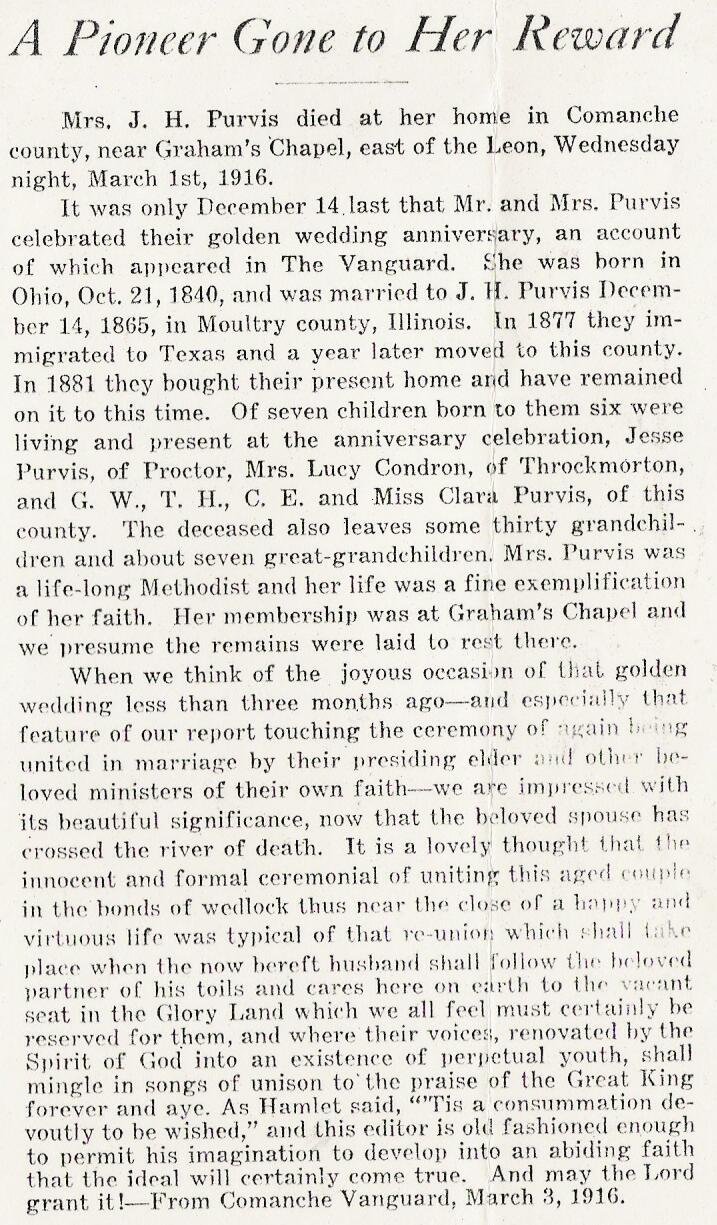 Obituary of Emma (Wooton) Purvis