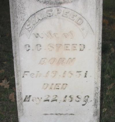 Tombstone of Sarah Alis Risher Lucas Speed