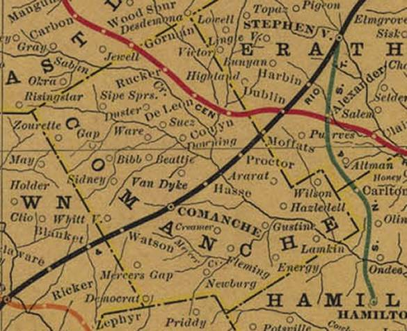 Comanche County, TX Map from 1908