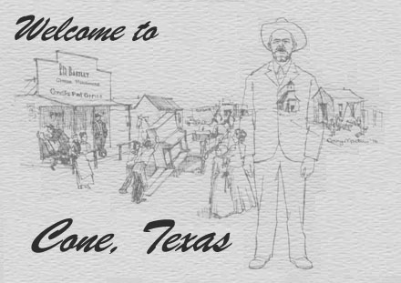 Drawing of Cone, Texas by Conny Martin