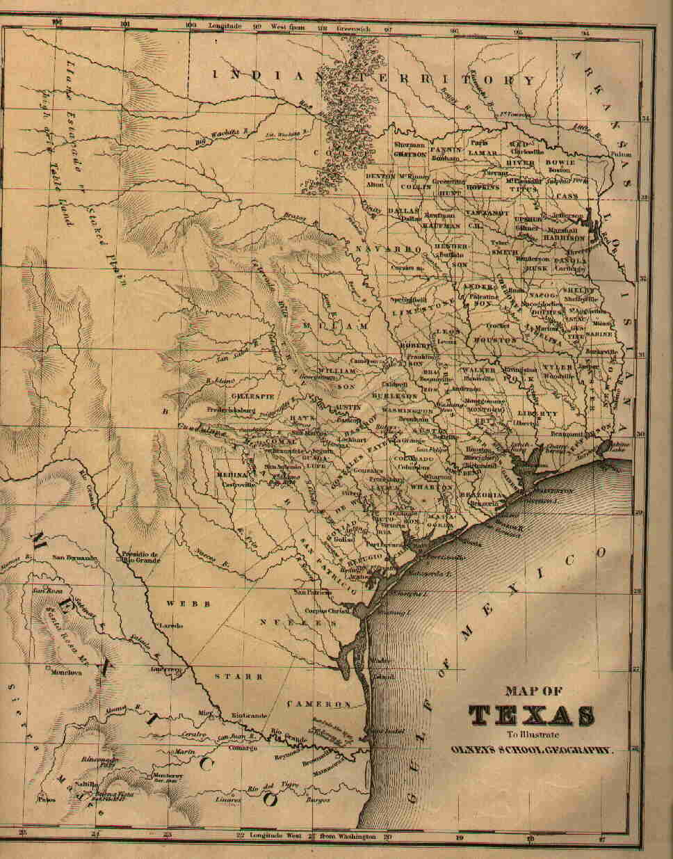 1870 Map Of Texas.Maps Of Fannin County Texas