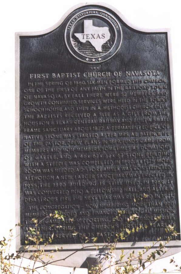 Description: Historical Marker at First Baptist Church of Navasota