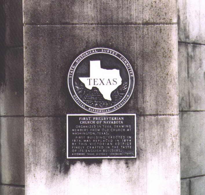 Description: Historical Marker at First Presbyterian Church of Navasota