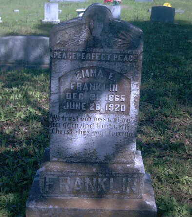 Description: Emma E. Franklin tombstone
