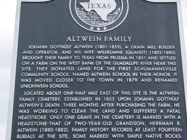 Altwein Family Marker