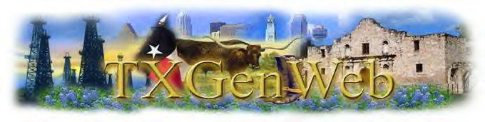 Large colorful TXGenWeb graphic of oil wells, longhorn cattle Alamo, and various cities' skyscrapers.  Designed by Terri Brown