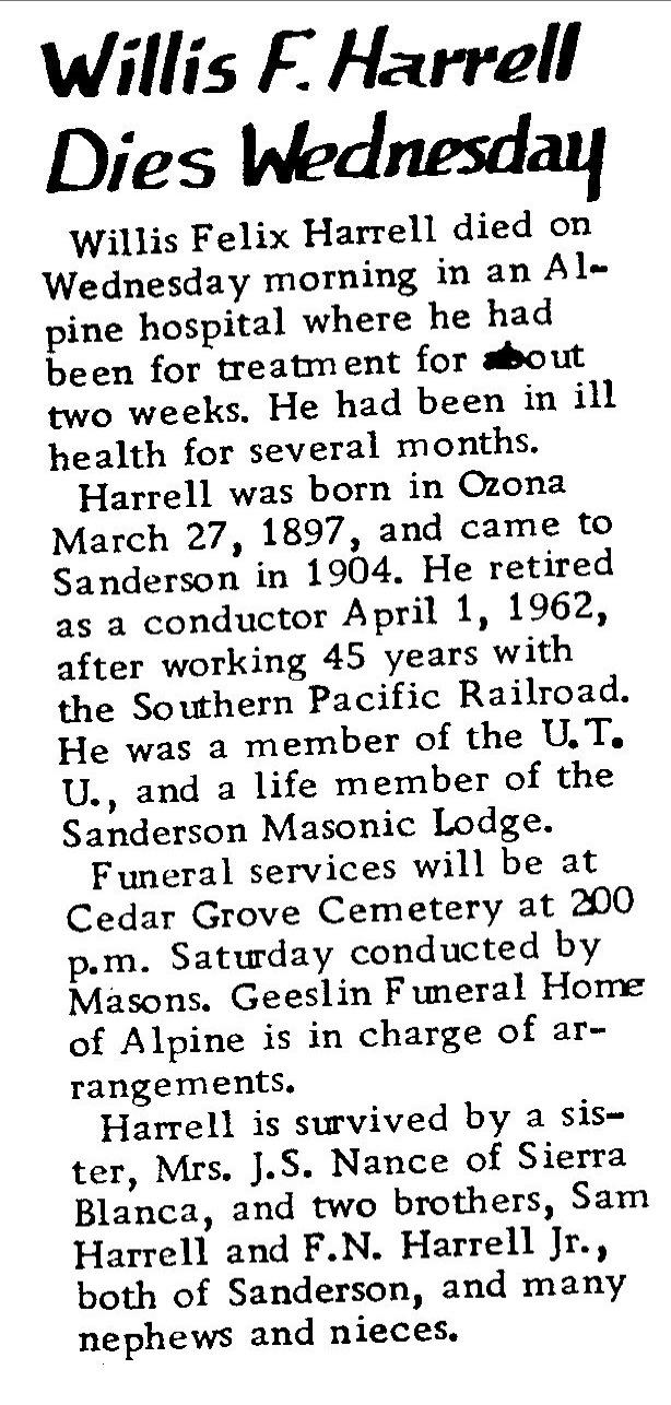 Terrell County TXGenWeb | Obituaries